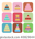 Wedding cake pie sweets cards dessert bakery flat simple style isolated vector illustration. 40829644