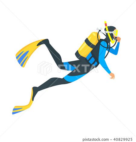 scuba diver on white background 40829925