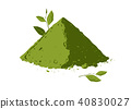 Pile of matcha tea powder with tea leaves 40830027