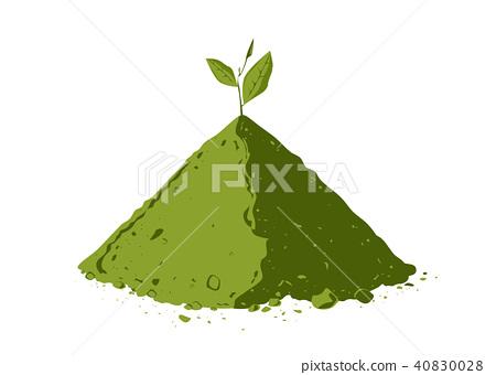 Pile of matcha tea powder with tea leaves 40830028