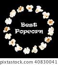 Popcorn round frame. Vector realistic illustration 40830041