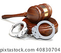 Gavel and handcuffs isolated oin white background 40830704