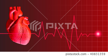 Human heart with heart rate pulse illustration 40831359