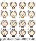老祖父老妇人面孔表示表情逗人喜爱的象集合 40831581