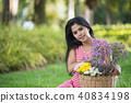 portrait of pregnant women on green background 40834198