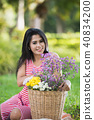 portrait of pregnant women on green background 40834200