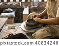 potter's hands shaping soft clay make earthen pot 40834246