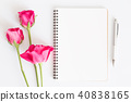 Blank notebook with pink roses and pen on white 40838165