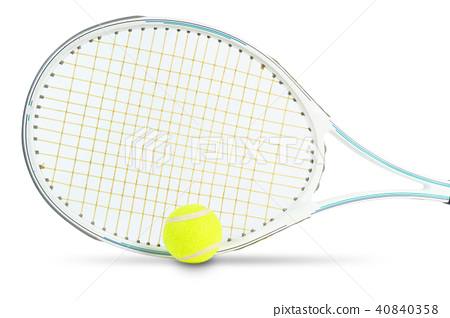 Tennis rackets and tennis ball on white background 40840358