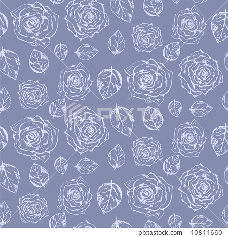 Tender pale blue pattern with roses and leaves 40844660