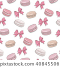 Macaroon pattern. Sweet dessert biscuit cookies surface design. Macaron pink texture with bow 40845506