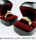 3D Rendering of diamond rings in red velvet boxes 40846762
