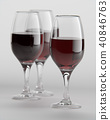 3D Rendering of wine glasses filled with red wine 40846763