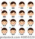 年轻上班族男性/女性衣服面孔表示逗人喜爱的一点象集合 40850220