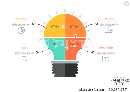 Jigsaw puzzle in shape of light bulb divided into 4 pieces. Minimal infographic design template 40852457