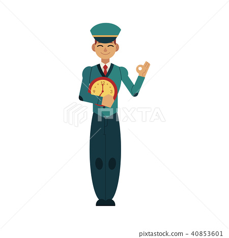 Postman in uniform holding clock in front of his chest and showing okay hand gesture. 40853601