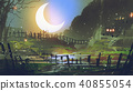 garden at night with big crescent moon 40855054