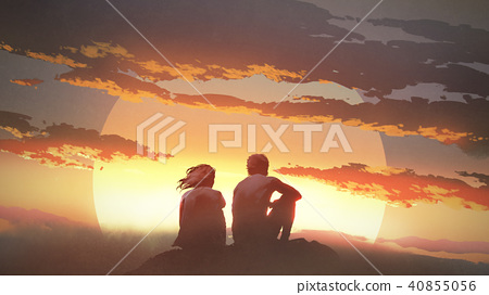 young couple looking at the sunset 40855056