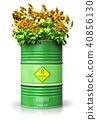 Green biofuel drum with sunflowers isolated white 40856130
