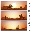 Cowboy riding horse against sunset background. Wil 40858661
