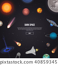 Dark space banner with cosmic elements 40859345