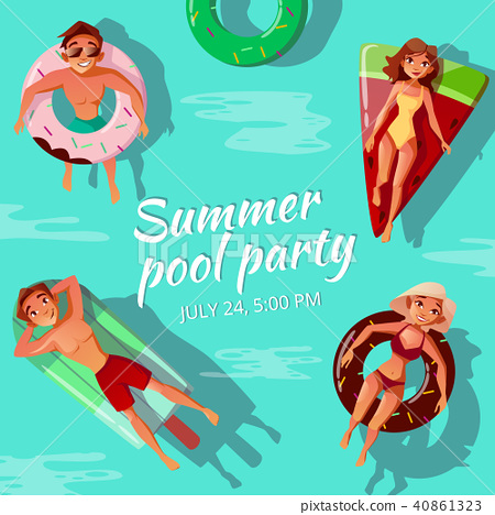 Summer pool party vector illustration 40861323