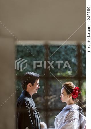 日本禮服婚禮新娘和新郎 40861894