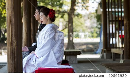 日本禮服婚禮新娘和新郎 40861920