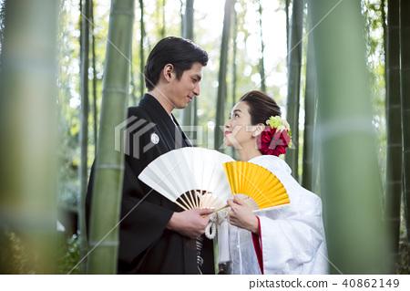 日本礼服婚礼新娘和新郎 40862149