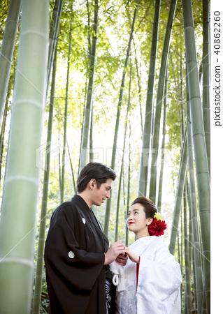 日本禮服婚禮新娘和新郎 40862260