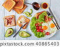 eggs, salad, toasts with yeast spread 40865403