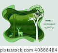 Deer family silhouettes in forest landscape  40868484