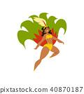 Brazilian girl dancing samba, beautiful woman in bright carnival costume vector Illustration on a 40870187