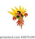 Happy girl dancing samba, beautiful Brazilian woman in bright carnival costume vector Illustration 40870189