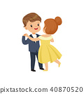 Cute little boy and girl dancing waltz in elegant clothes vector Illustration on a white background 40870520
