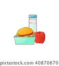 hamburger, apple, vector 40870670