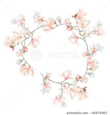 水彩玉蘭花花卉和樹枝 40870963