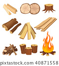 Flat vector set of firewood. Logs and flame, tree stumps, wooden planks. Organic material, natural 40871558