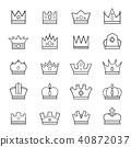 Crown black and white vector material set crown icons set 40872037