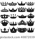 Crown black and white vector material set crown icons set 40872039