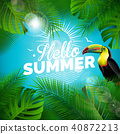 Vector Hello Summer Holiday typographic illustration with toucan bird and tropical plants on blue 40872213