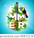 Vector Summer Holiday typographic illustration with toucan bird, acoustic guitar and flower on 40872216