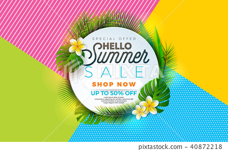 Summer Sale illustration with flower and tropical plant on abstract color background. Vector banner 40872218