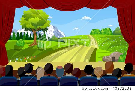 People Sitting In Cinema Watching Movie Back Rear 40872232
