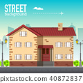 Home building in city space with road on flat syle 40872837