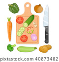 Cutting board and vegetables 40873482