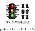 Realistic traffic light on a white background, in various color variations. Stoplight vector 40873974