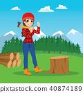 lumberjack, forest, female 40874189