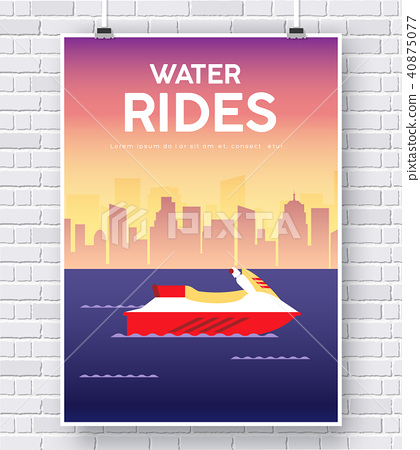 Water Scooter illustration on brick wall backgroun 40875077