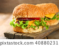 Tasty homemade burger consisting of bun 40880231
